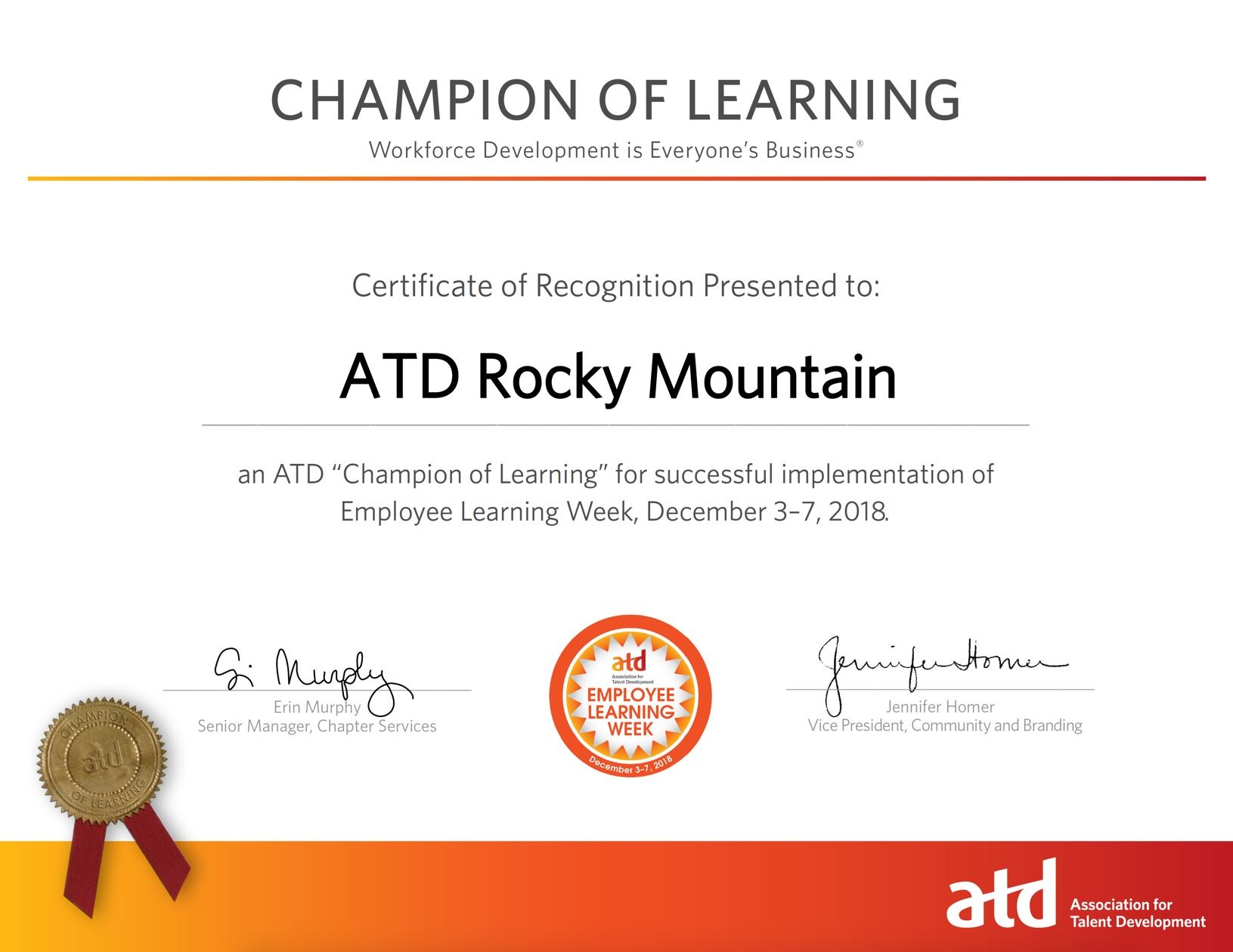 Champion of Learning Certificate