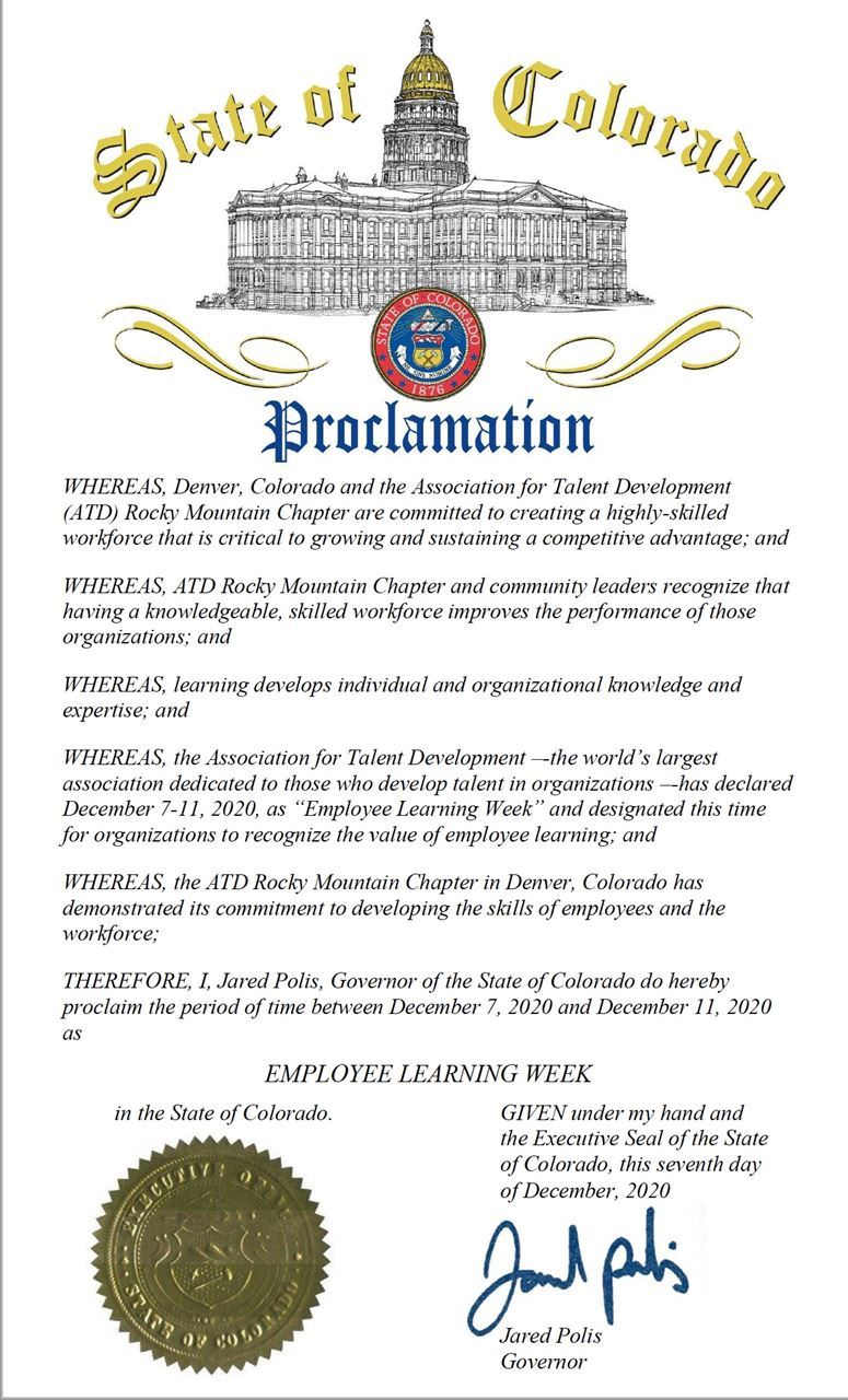 State of Colorado Employee Learning Week Proclamation