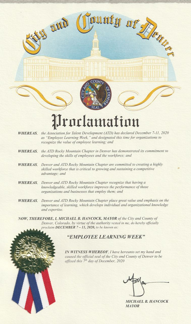 City and County of Denver Proclamation of Employee Learning Week
