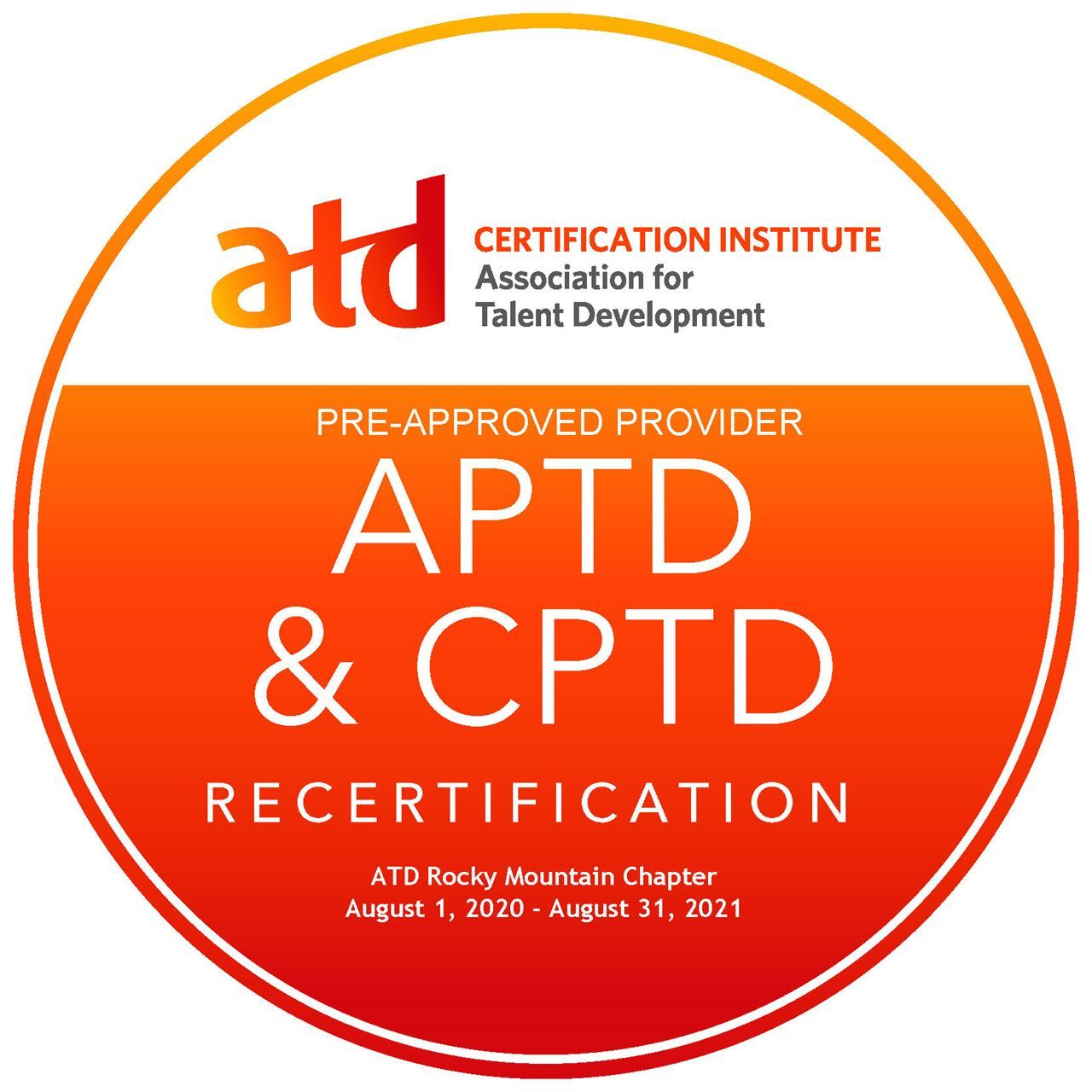 ATD CI Pre-Approved APTD & CPTD Pre-Approved Provider for recertification